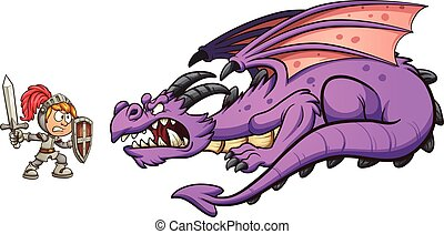 Cartoon knight fighting a dragon. Vector clip art illustration with simple gradients. Each on a separate layer.