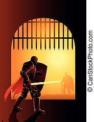 Knight waiting by the front gate for a duel