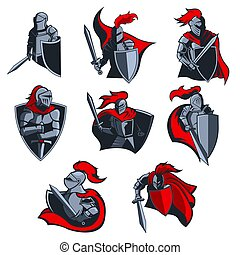 Knight warior with sword, shield, helmet icons