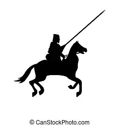 Knight Warrior Silhouette on white background.