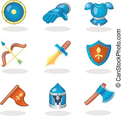 Knight weapon cartoon icons set. Medieval weapons, shields, armor, helmet bow and sword.