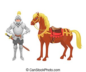 Knight with armor and horse vector illustration Fairy tales characters.