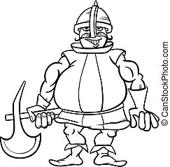 knight with axe cartoon coloring page