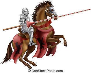 Knight with lance on horse - Illustration of a knight...