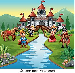 Knight with princess and prince in a castle landscape