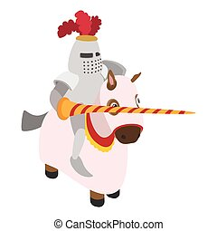 Knight with spear and horse cartoon character on a white...