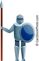 Knight with spear icon, cartoon style