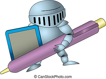 Knight with stylus and tablet. Isolated Vector Illustration