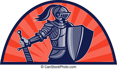 Knight with sword and shield facing side with sunburst in background done in retro style
