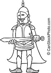 knight with sword cartoon coloring page - Black and White...