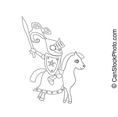 knight with sword riding on a horse