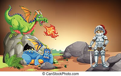 Knight with two dragons in the cave
