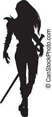 Stylized silhouette of walking woman warrior with sword, in fantasy armor. Available in vector EPS format.