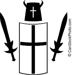 Knightly armour board, sword, helmet. - Historical armour of...