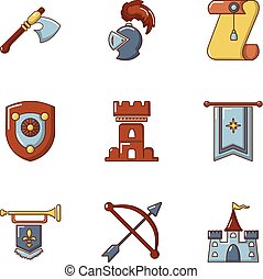Knightly icons set, cartoon style