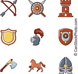 Knightly tournament icons set, cartoon style