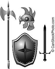 knightly, zwaard, helmet., harnas, plank