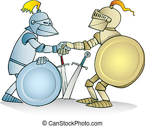 Knights agreement - Illustration of two knights shaking...