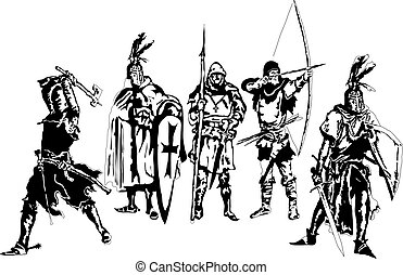 Knights and medieval warriors detailed silhouettes set. Vector