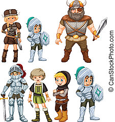Knights and Warriors - Illustration of knights and warriors