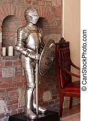 Knight's armour - A knight's armour with shining metal and ...