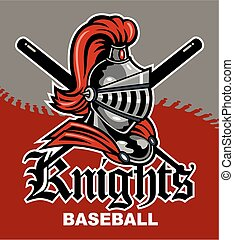 knights baseball team design with mascot and crossed bats for school, college or league