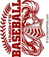 knights baseball team design with stitches and half mascot for school, college or league
