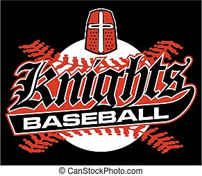 knights baseball team design with stitches and helmet for school, college or league