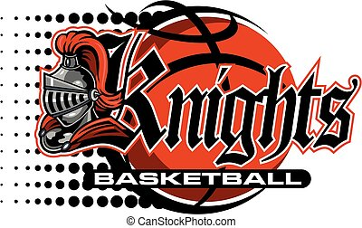 knights basketball team design with mascot helmet and ball...