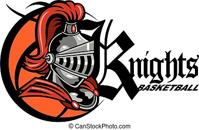 knights basketball team design with mascot helmet inside a...