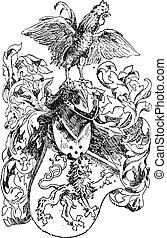 knight's, capacete, e, escudo, vindima, gravura