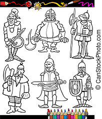 Knights Cartoon Set for coloring book - Coloring Book or...