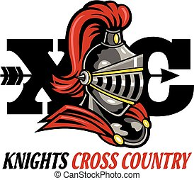 knights cross country design with mascot helmet