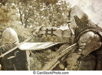 Knights fight. Photo in old image style.