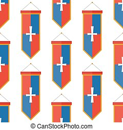 Knights flags medieval weapons heraldic knightly medieval kingdom gear seamless pattern background vector illustration.