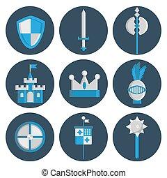 Knights flat icons set