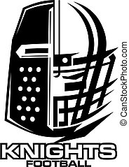 knights football team design with helmet and facemask for school, college or league