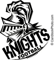 knights football team design with helmet and laces for school, college or league