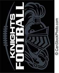 knights football team design with mascot and laces for school, college or league