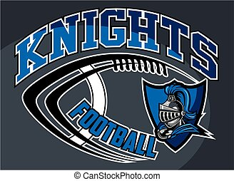 knights football team design with mascot head inside shield for school, college or league