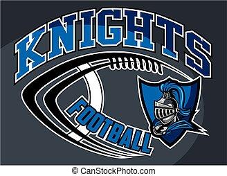 knights football team design with mascot head inside shield ...