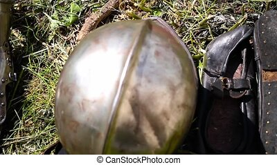 Knight's helmet and gloves - gauntlets and helmet on the...