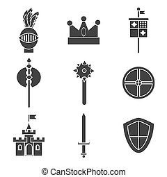 Knights icons set