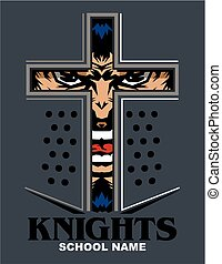knights mascot team design with face inside helmet for...