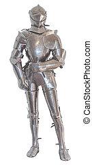 knight's, odizolowany, zbroja