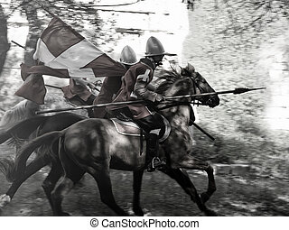 Knights of the Order of St. John on horseback during a charge at the enemy
