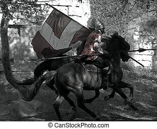 Knights of Malta on Horseback - VITTORIOSA MOAT, MALTA - APR...