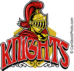 knights shield design with helmet and crest