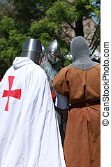 Knights - Arville,France,May 23rd 2010: Three Templar...
