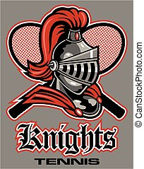 knights tennis team design with mascot head and crossed racquets for school, college or league